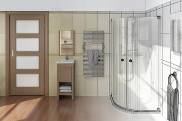 Badplanung in 3D mit halbrunder, ebenerdiger Dusche und Duschkabine.