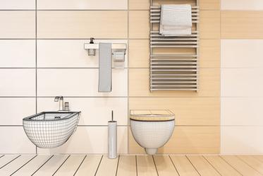 Virtueller Einbau der Badkeramik wie WC und Bidet.