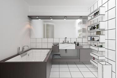 Aus einer Skizze wird in der 3D Badplanung eine fotorealistische Darstellung des Badezimmers.