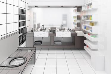 3D Detailplanung mit Ausstattungsdetails wie Regalen und weiteren Badmöbeln.