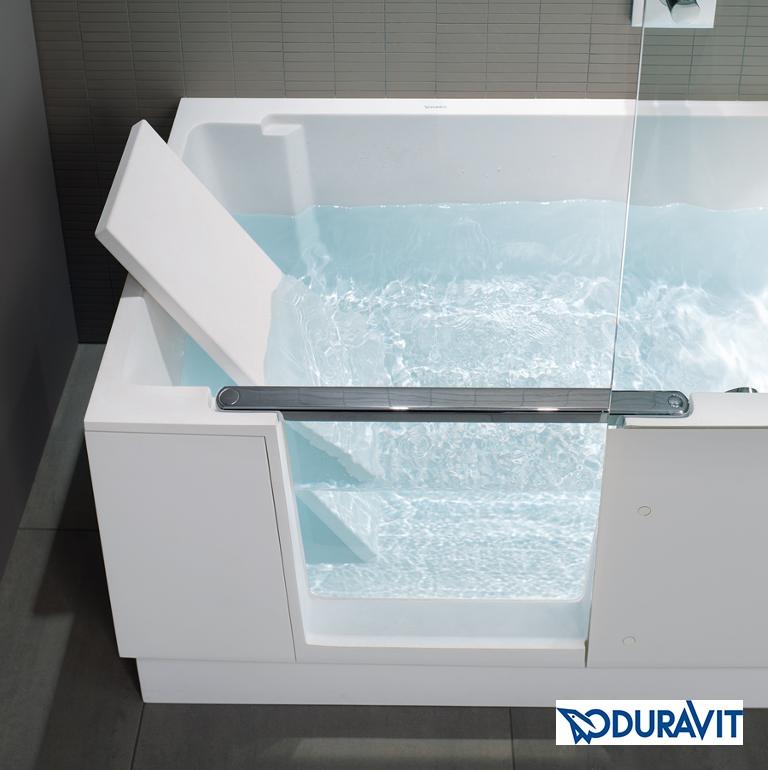 Duravit Shower and Bath mit Glastür und Kopfteil